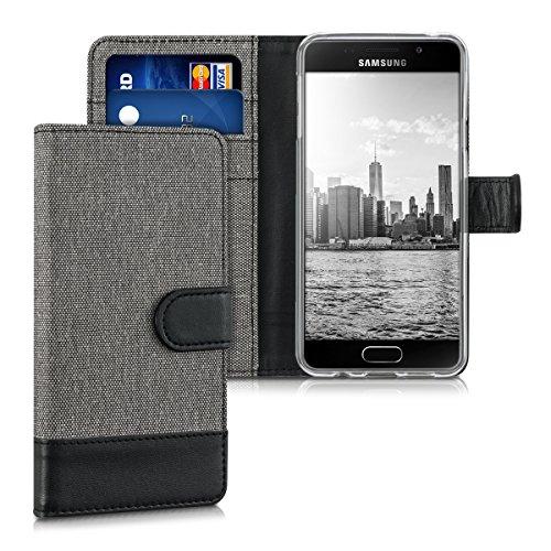 kwmobile Wallet Hülle kompatibel mit Samsung Galaxy A3 (2016) - Hülle Kunstleder mit Kartenfächern Stand in Grau Schwarz