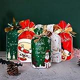 HUDDU 50 Pezzi Sacchetto Regalo di Natale con Coulisse Sacchetto di Snack di Caramelle Natalizie Sacchetto Regalo di Nozze per Feste di Compleanno