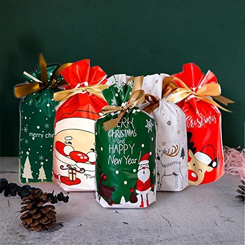 HUDDU 50 Piezas Bolsas Navideñas con Cordón Bolsas para Dulces Navideñas Bolsas para Envolver Regalos para la Fiesta de Navidad
