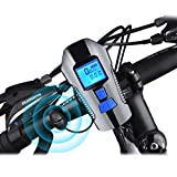 Bostar Bike Speedometer with Bike Light, USB Rechargeable Bicycle Computer with Loud Bell, Waterproof LCD Display Bicycle Headlight, fits All Mountain/Road Bike Blue
