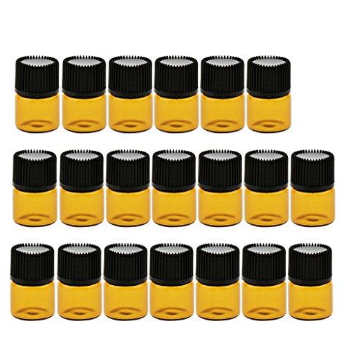 MERIGLARE 20 Piezas Pequeñas Botellas De Vidrio De Frasco De Vidrio Vacías Botella De Vidrio Marrón Aceite Esencial - 1ML