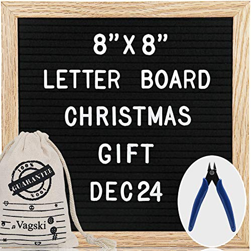 Mini Black Felt Letter Board Set- 8x8 Inches Changeable Letter Board with 460 Letters and Numbers Burlap Storagebag Scissors for Announcement Home Decoration and Christmas Gift 066