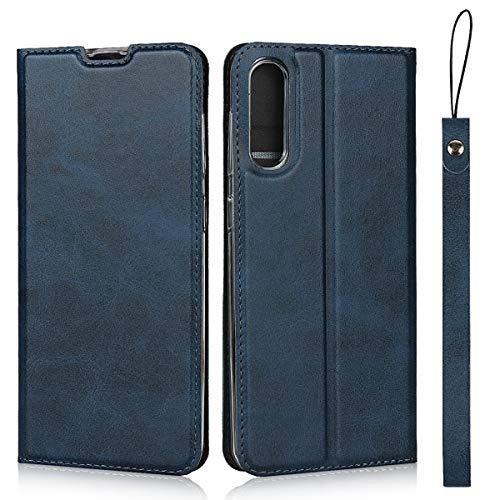 Hülle für Samsung Galaxy A30S, SONWO Ultra dünn PU Ledertasche Flip Brieftasche Handyhülle für Galaxy A30S, mit Karteneinschub und Magnetverschluss, Blau