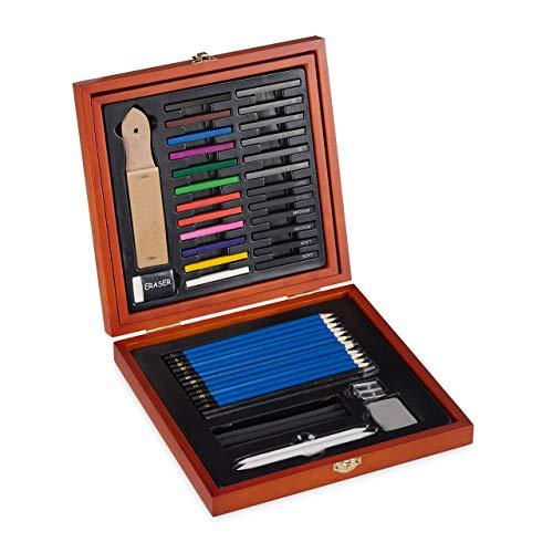 Relaxdays, braun Zeichenset, 48-tlg. Malkoffer Holz, professionell, Zeichenkohle, weiche Pastellkreide & Bleistifte Set, 4,5 x 25 x 24,5 cm