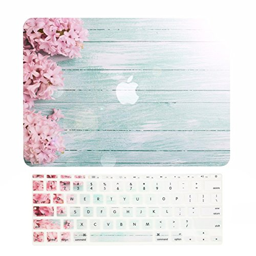 TOP CASE - 2 in 1 Signature Bundle Floral Pattern Rubberized Hard Case + Keyboard Cover Compatible MacBook Air 11' (11' Diagonally) Model: A1370 / A1465 - Pink Hyacinth Turquoise Wooden