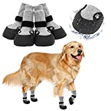 KOOLTAIL 2 Pairs of Anti-Slip Dog Socks, Rubber Bottom, Waterproof Dog Shoes, Protective Dog Boots, for Outdoor Walking, Running, Hiking