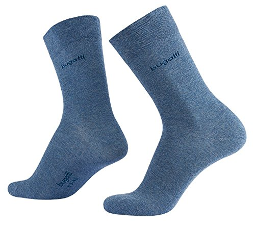 bugatti Basic Mens Socks 3er Pack 6703 434 lt. denim melange blau Strumpf Socken, Größe:43-46