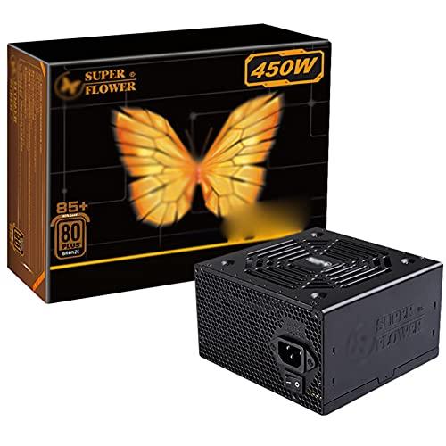 ZHMIAO Fuente de alimentación 450W NO Modular, 80 Plus Bronce 12 cm Ventilador silencioso 105 ℃ Fuente de alimentación de Condensador Resistente a la Temperatura Negro