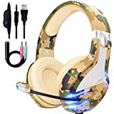 NPET HS10 Stereo Gaming Headset for PS4, PC, Xbox One Controller, Noise Cancelling Over-Ear Headphones with Mic, Soft Memory Earmuffs, LED Backlit, Volume Control (Yellow Camo)