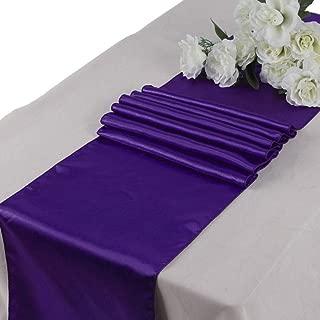 mds Pack of 5 Wedding 12 x 108 inch Satin Table Runner for Wedding Banquet Decoration- Cadbury Purple