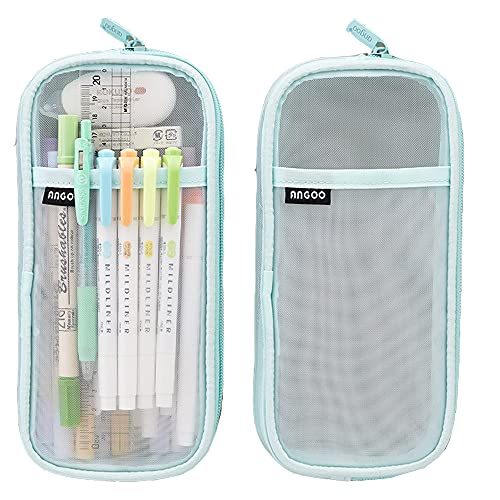 Friinder Grid Mesh Pencil Bag, Clear Simple Stationery Organizer, Multi-Color Pen Marker Pouch for...