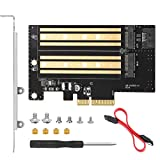 Dual M.2 PCIe Adapter Card for NVMe/SATA SSD - Support PCIe 3.0 x16 x8 x4 for 2280 2260 2242 2230 SSD, Compatible with Windows 7 8.1 10 and MacOS