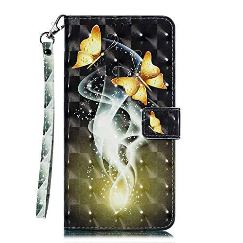Galaxy J4 Plus 2018 Hülle, CAXPRO® Leder und TPU Innere Brieftasche Handyhülle, Flip Ledertasche mit Standfunktion & Kartensfach für Samsung Galaxy J4 Plus 2018, Schmetterling