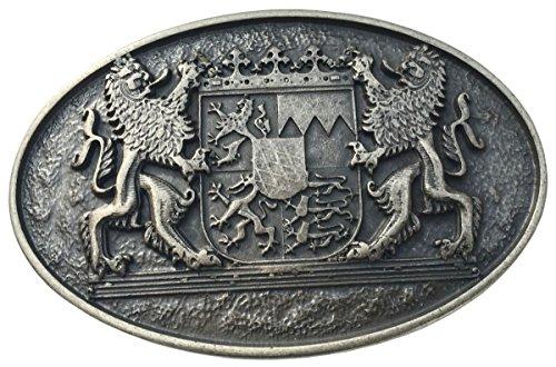Brazil Lederwaren Gürtelschnalle Doppellöwe mit Wappen 4,0 cm | Buckle Wechselschließe Gürtelschließe 40mm Massiv | Altsilber