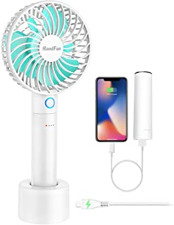 HandFan Portable Fan Rechargeable with Charging Base, 2600mAh Power Bank Personal Handheld Fan Battery Operated Strong Airflow & 5 Adjustable Speeds for Disney World Wedding Outdoors (White)