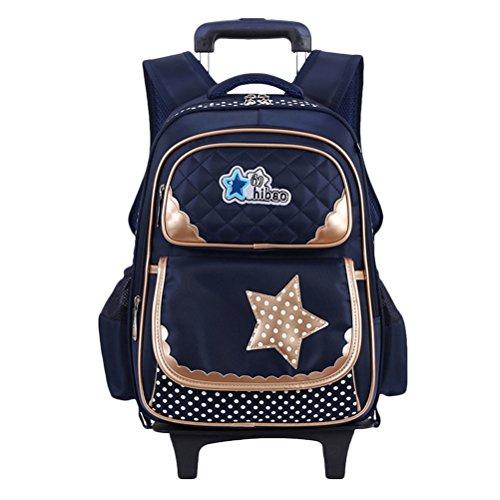 Zhhlinyuan Leicht Rucksack Wheeled School Bag für Primär Schule Schüler Mädchen Fahrbar Rucksack Reise Gepäck Taschen