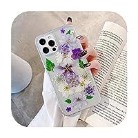 ファッションリアルドライフラワー携帯電話ケースFor Iphone 11 12 Pro MAX Mini X XR XS SE 2020 7 8 Plusソフト透明耐衝撃カバー-Style 7-For iphone XR