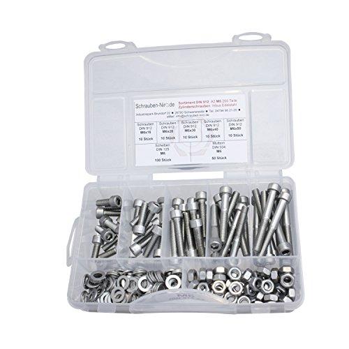 Sortiment Edelstahl V2A Zylinderschrauben innensechskant DIN 912, Muttern sechskant DIN 934 und Scheiben DIN 125, Innensechskantschrauben M6 alles in A2, VA bzw. Nirosta, 200 Teile