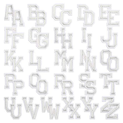 Souarts 52pcs Alphabet Lettre Écusson Brodé Patch Thermocollant Vêtements Badges Brodé Patchs Autocollant de Couture Autocollant Appliques pour Vêtements Jacket Jeans Cap