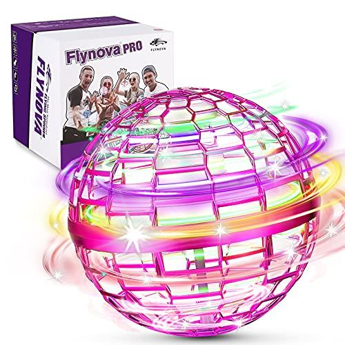 FLYNOVA PRO Flying Orb Spielzeug, 3 Farben Mini Fliegender ball with 360° Flying Spinner UFO Ball, Eingebaute RGB-LED Glühen flugzeug spielzeug für Kinder Erwachsene Indoor Outdoor (Rosa)
