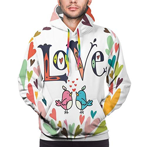 Men's Hoodies Sweatshirts,Cartoon Circular Wreath of Colorful Hearts with Lover Birds and Love Word Typography,X-Large