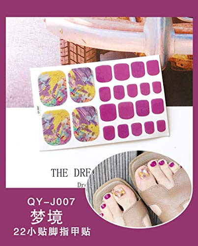 BGPOM Foot Stickers Nail Stickers Nail Stickers Fully Waterproof Lasting 3D Toenail Stickers Patch 10 Sheets/Set,Dreamland (QY-J007)