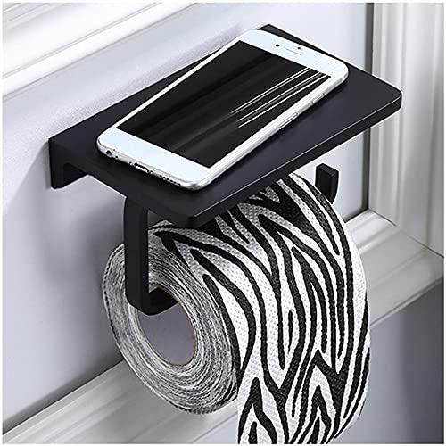 Riyyow Tenedor de Rollo de Inodoro, baño Tapa de Inodoro Tenedor de teléfono móvil Soporte de Almacenamiento de Tejido de baño Espacio de Aluminio a Prueba de Herrumbre Negro