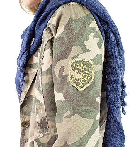 si moda damesjack blazer jeans patchwork scheuren destroyed camouflage legergroen