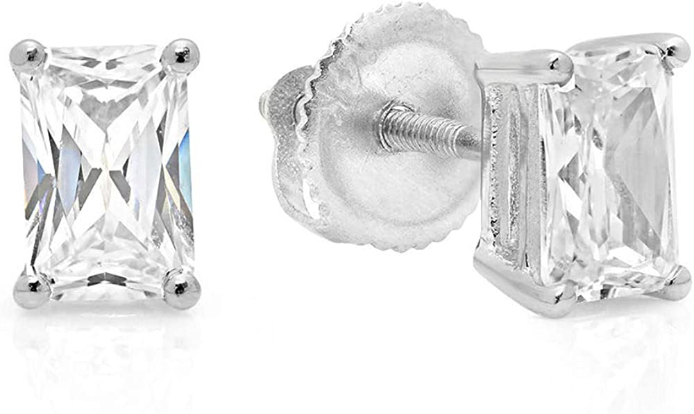 Clara Pucci 2.1 ct Brilliant Emerald Cut Solitaire VVS1 Flawless Moissanite Gemstone Pair of Stud Earrings Solid 18K White Gold Screw Back