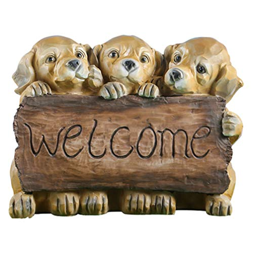 YARNOW Welcome Dog Statue Puppy Garden Statue Dog Sculpture with Welcome Sign Home Garden Ornament