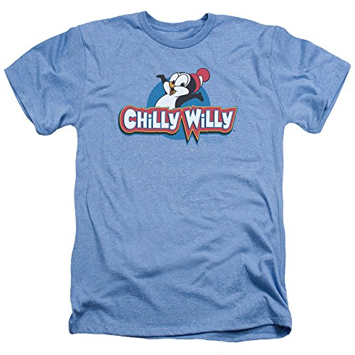 2Bhip Chilly Willy Penguin Funny Cartoon Character Logo Adult Heather T-Shirt Tee Blue