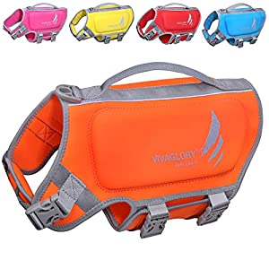 Vivaglory Dog Life Vest, Skin-Friendly Neoprene Life Jacket for Dogs with Superior Buoyancy and Rescue Handle, Reflective, Orange, Small