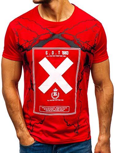 BOLF Herren T-Shirt mit Aufdruck Kurzarm Rundhals Sport Style J.Style 10875 Rot L [3C3]