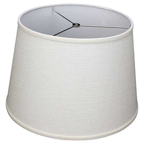 FenchelShades.com Lampshade 14' Top Diameter x 18' Bottom Diameter x 12' Slant Height with Washer (Spider) Attachment for Lamps with a Harp (Burlap Off White)