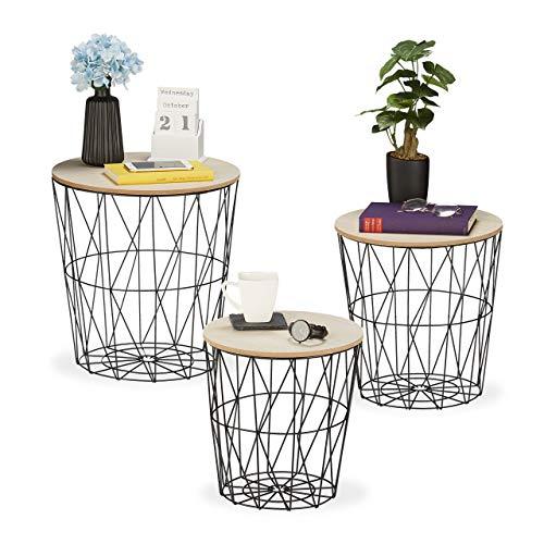 Relaxdays Korbtisch 3er Set, rund, Korb Beistelltisch Wohnzimmer, Metall & Holzoptik, 3 Größen, Drahtkorb-Tisch, schwarz