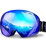 Keary OTG Ski Goggles Snowboard Goggles Over Glasses Snow Sports Goggles for Women Men Adult Youth, Mirrored Double Spherical Lens 100% UV400 Protection Helmet Compatible, Winter Anti-Fog Goggles