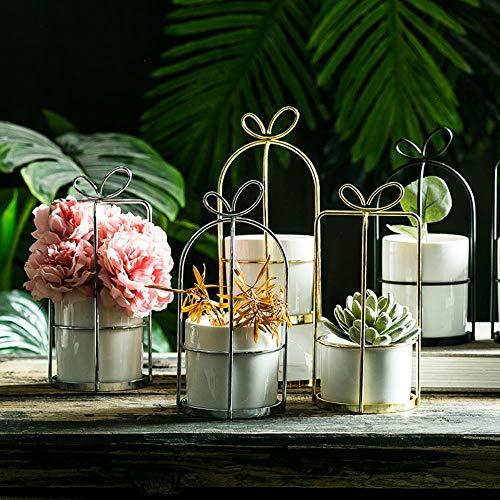 LIANGRAN Blumenvase Einfache Nordische Vase Eisenrahmen Blumenständer Keramik Hydroponik Blumentopf Grüne Pflanze Vergoldete Blumentopf Ornamente Handwerk Geschenk, Quadrat M, Gold