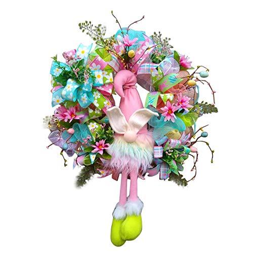 Decoración para puerta de Pascua con conejos y orejas – Conejos de Pascua – Corona de puerta de casa – Guirnalda de decoración de pared de Pascua