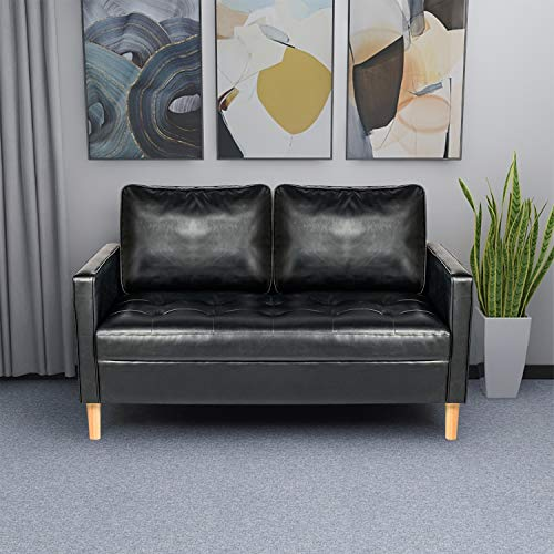 """54.3"""" Modern Black Faux Leather Love Seats Futon Sofa Loveseat Living Room Office Couch Small Space Configurable Sofa Black"""