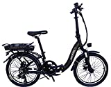 Micargi 20 Inch Folding Electric Bicycle Seco Ebike with 7 Speed 250W Motor,Commuter Electric Bike with 36V 10.4AH Battery and LED Headlight (Black)