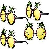 Chinco 4 Paare Ananas Sonnenbrille Ananas Form Party Dekorative Gläser Hawaiian Tropical Sonnenbrille für Themed Summer Party Lieferungen