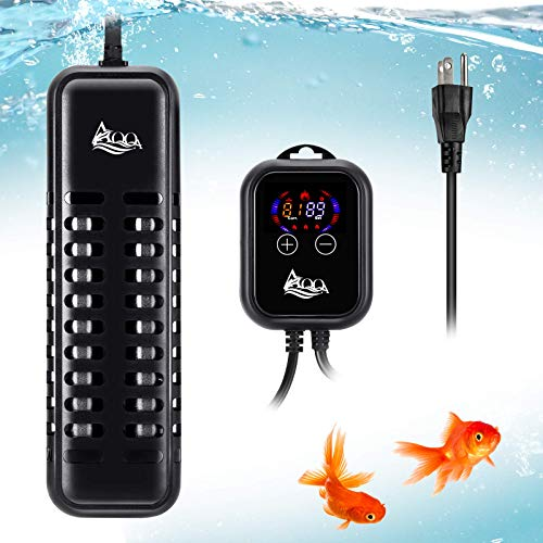 AQQA Aquarium Heater, 100W 200W 300W Quartz Glass Submersible Heater with LED Temperature Display and External Temperature Controller for Freshwater and Saltwater (800W for 80-220 Gallon Tank)