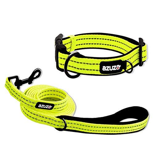 azuza Strapazierfähige gepolsterte Hundeleine und Halsband, reflektierende Streifen, extra sicher und bequem für kleine bis große Hunde, M (Neck:14