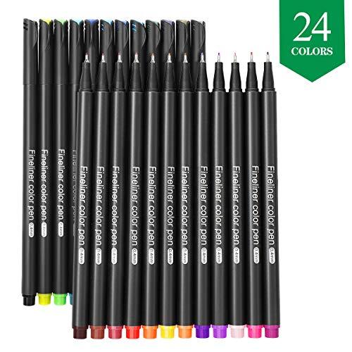 Filzstift, GCQUILL 24 Farben Fineliner Stifte Set Fine Line Point Filzstifte mit 0.4mm Spitze perfekt für Kalligraphie, Comics, Mang, zum Präzisionszeichnen, Schreiben, Malen, Zeichnen, Marken