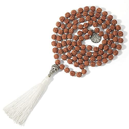 sdfpj 108 Mala Bodhi Samen Rudraksha Perlen Geknotet Baum des Lebens Anhänger Meditation Yoga Segen Glück Schmuck Lange Quaste Halskette (Metal Color : S-N0051-ST)