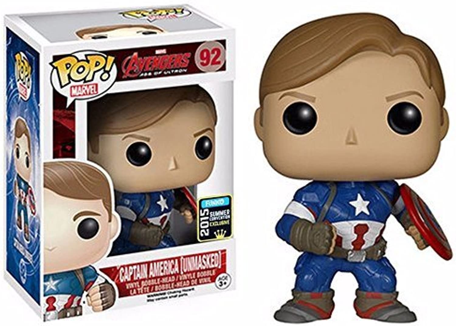 Unmasked Captain America Funko PoP  2015 Convention Exclusive by FunKo
