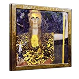 Wandbild Gustav Klimt Pallas Athene - 40x40cm Quadrat - Wandbild Alte Meister Kunstdruck Bild auf Leinwand Berühmte Gemälde