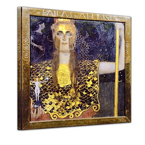 Wandbild Gustav Klimt Pallas Athene - 40x40cm Quadrat - Alte Meister Berühmte Gemälde Leinwandbild Kunstdruck Bild auf Leinwand