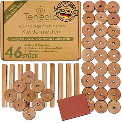 Teneola 46 Stck Bio Mottenschutz aus Zedernholz Ringe & Stäbe Mottenschutz für Kleiderschrank gegen Kleidermotten Anti Motten Ideal für Kleiderbügel Schubladen & Fächer mit gratis Schleifpapier