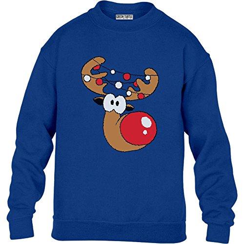Green Turtle T-Shirts Kinder Geschenke Rudolph Girlande Weihnachts Pullover Sweatshirt XL 152/164 Blau